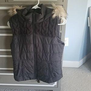 Black vest with fur hood